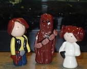 Star Wars Trio Figures Polymer Clay Miniatures Han Solo Princess Leia Chewie
