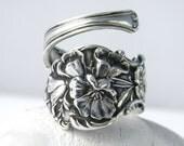 Sterling Silver Spoon Ring  - Wild Poppy Art Nouveau