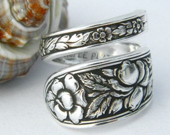 Antique Silver Spoon Ring, Silverware Jewelry, Met Rose
