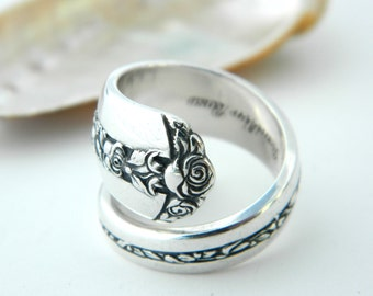 Sterling Silver Spoon Ring  -Rambler Rose Towle 1937