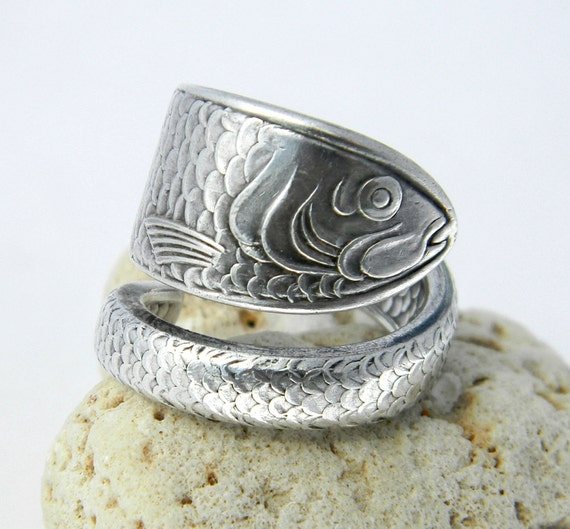 Sterling Spoon Ring, Silverware Jewelry, Reed & Barton Unique Fish Ring