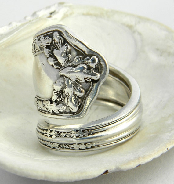 antique silver spoon ring fair oak 1913 fall ring