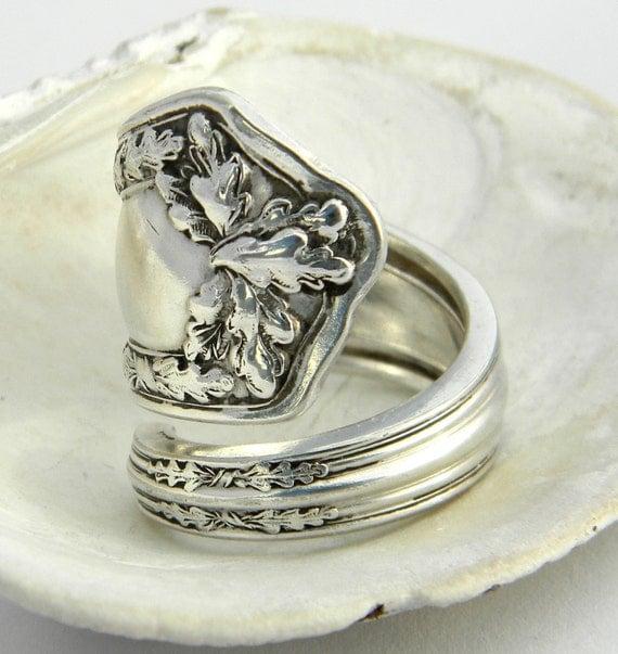 antique silver spoon ring fair oak 1913 fall ring