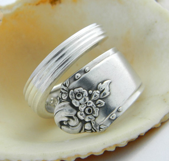 Antique Spoon Ring  - Sweet Briar 1948 - Silverware Jewelry