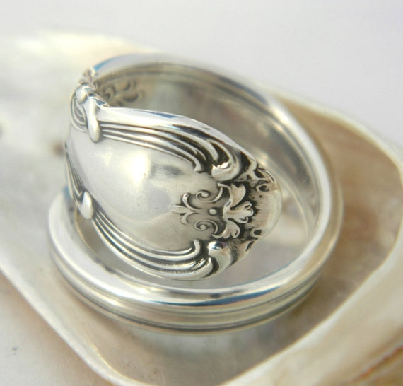 "Sterling Silver Spoon Ring  - Victorian Gorham ""Chantilly"" 1895"
