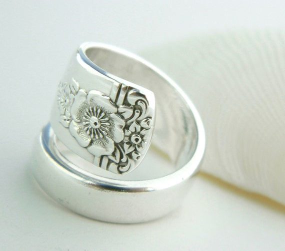 Antique Spoon Ring- Spring Charm 1950- SPOON HANDLE RING Silverware Jewelry