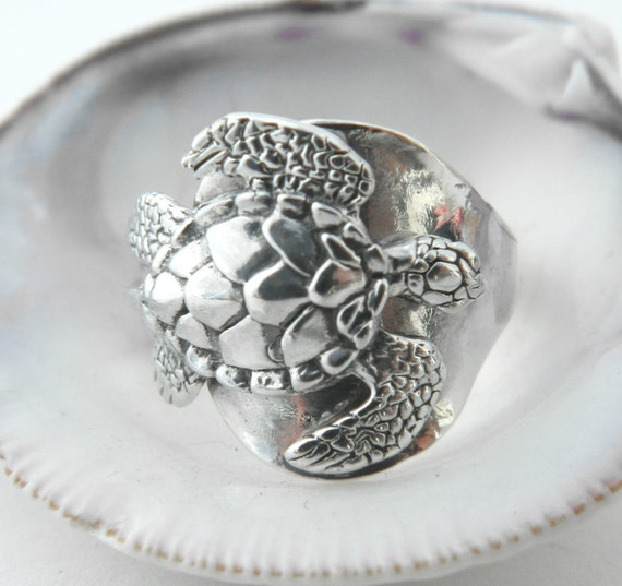 Sterling Silver Spoon Ring  - Sea Turtle Petite Pinky Ring- size 3