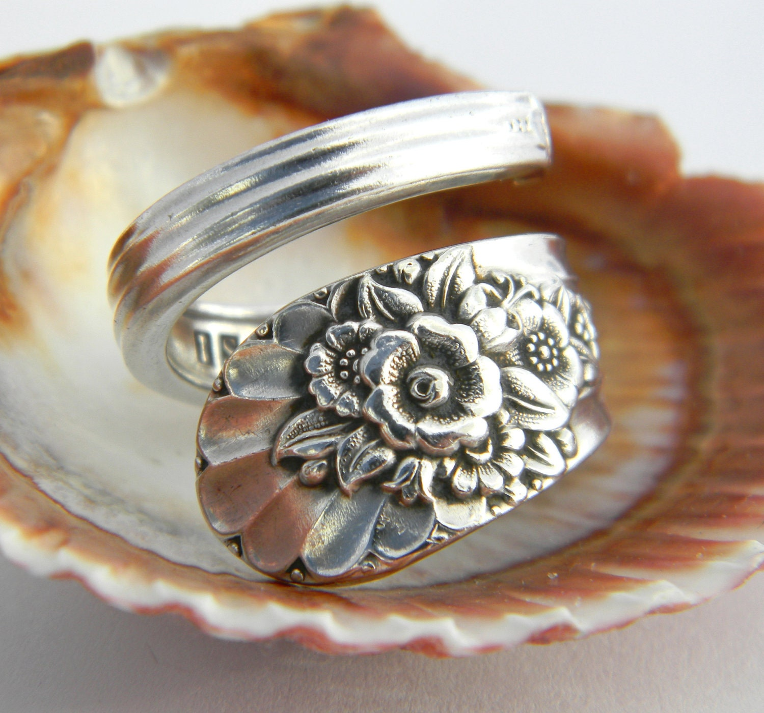antique silver spoon ring silverware jewelry jubilee 1953