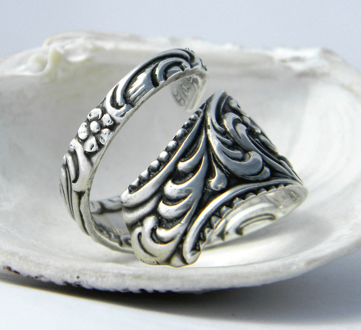 sterling silver spoon ring nouveau scroll floral