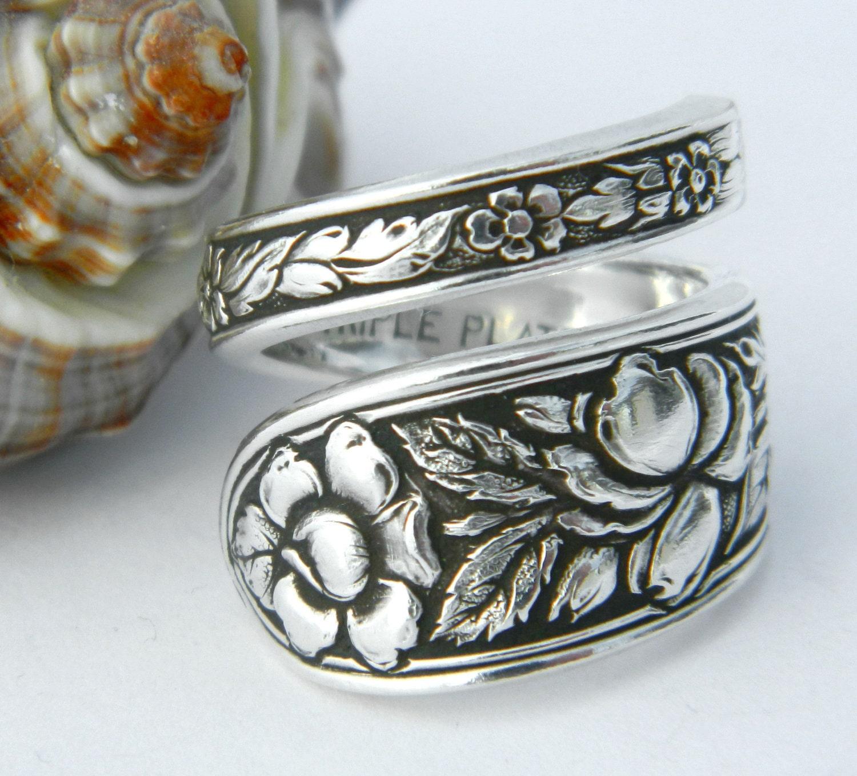 Antique Silver Spoon Ring Silverware Jewelry Met Rose