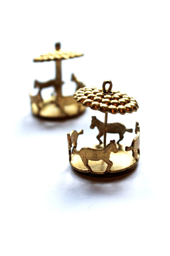 Raw Brass Carousel Pendant Charms - Moving Horses - 2 Pieces