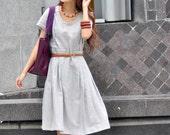 ON SALE 71% OFF Elegant Light Grey Short Sleeve Long Dress - NC007