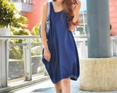 Lagenlook Summer Dress in Deep Blue Single Big Pocket Linen Sundress for Women  - NC037
