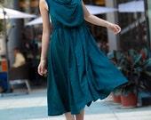 Dark Green Atrovirens Pleat Sleeveless Dress - NC090