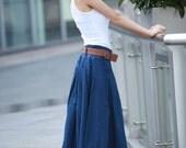 Deep Blue Fairy Casual Pleat Long Maxi Skirt - NC109