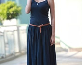 ON SALE Pleated Maxi Dress in Dark Blue Sexy Montage Long Pleat Vest Sundress for Women - NC089