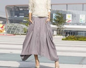 Lagenlook Maxi Skirt with two side Pockets Linen Skirt in Gray - NC144