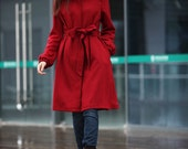 ON SALE 76% OFF Red Coat Custom Wool Coat Long Sleeves Tailored Long Coat Cashmere Coat for Women- NC196