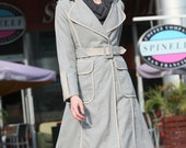 Fashionable Grey Back Opening Long Style Cashmere Coat For Women- NC238