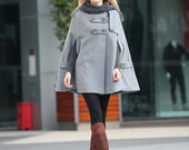 Grey Hoodie Cashmere Coat Double Breasted Hooded Wool Winter Cape Coat Wool Winter Jacket for Women - NC254