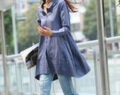 Spring Dress Long Sleeve Dress Shirt Loose Fitting Blouse Long Shirt Dress in Grey Blue - NC325