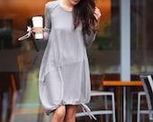 Lagenlook Cotton knitwear Sweater Dress for Women in Grey - NC329