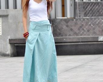 Graceful Light Blue Adjustable Waist Long Maxi Skirt - NC030