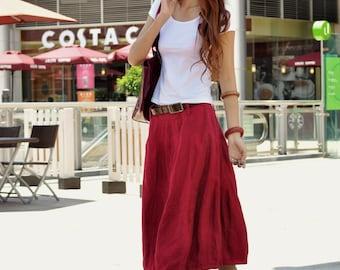 Romantic Bud Skirt Summer Skirt Linen Skirt in Wine Red - NC046