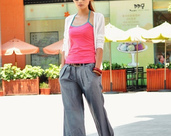 New Design Casual Gray Fine Wide Legs Long Pants - NC049