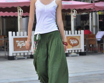 Forest Green Linen Wide Leg Long Pants Skirt - NC043