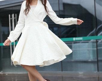 Wedding Dress in White Long Sleeve Evening Dress Coat - NC214