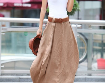 Romantic Khaki Pretty Linen Bud Long Maxi Skirt - NC023