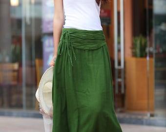 On Sale Size M Summer Maxi skirt Long  Linen Skirt In Forest Green - NC145-2