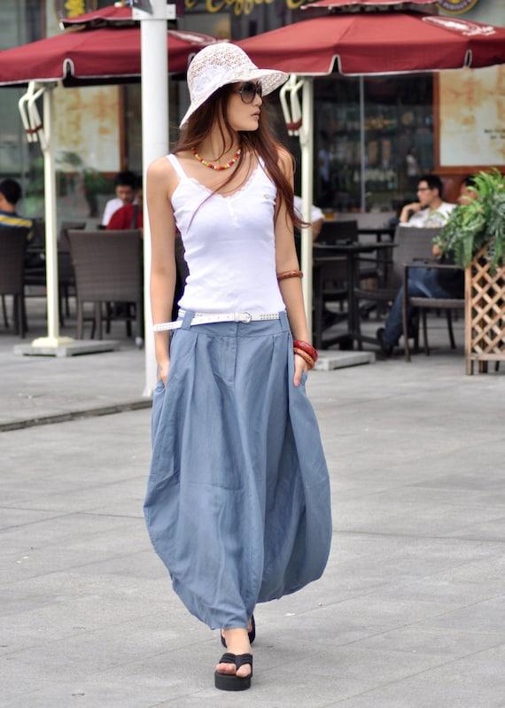 Sexy Grey-blue Skirt Linen Bud Long Maxi Skirt - NC023