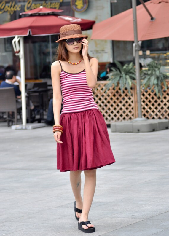 ON SALE 60% OFF Lovely Wine Red Big Sweep Skirt - NC029