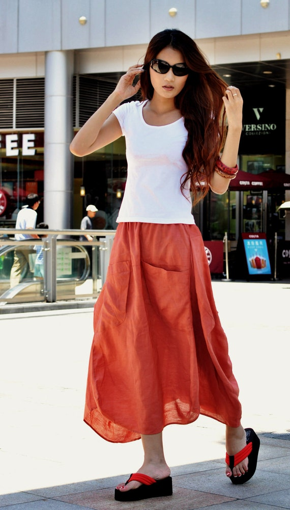 Lagenlook Maxi Skirt in Orange Two Big Pockets Elastic Waist Skirt - NC048