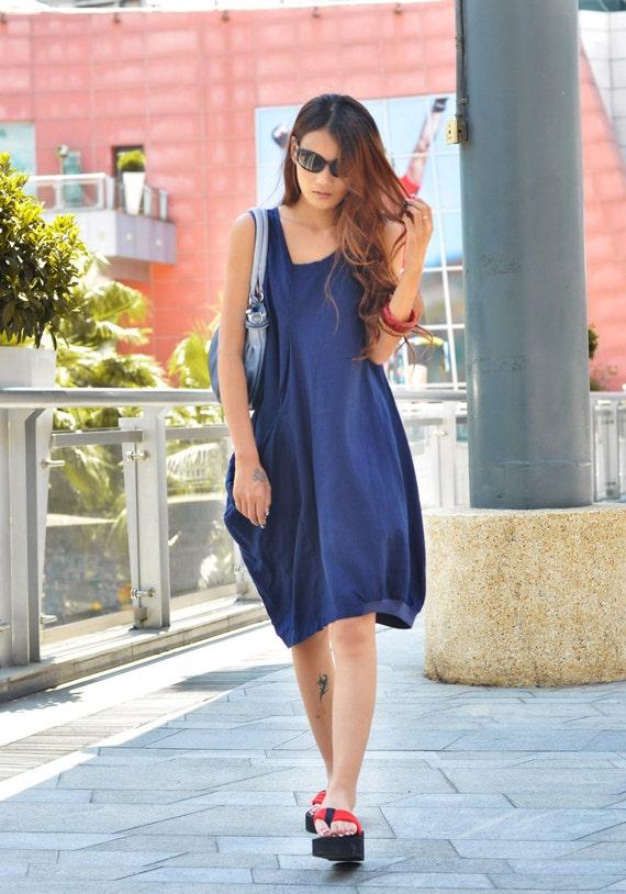 Lagenlook Summer Dress in Deep Blue Single Big Pocket Linen Sundress for Women  - NC037