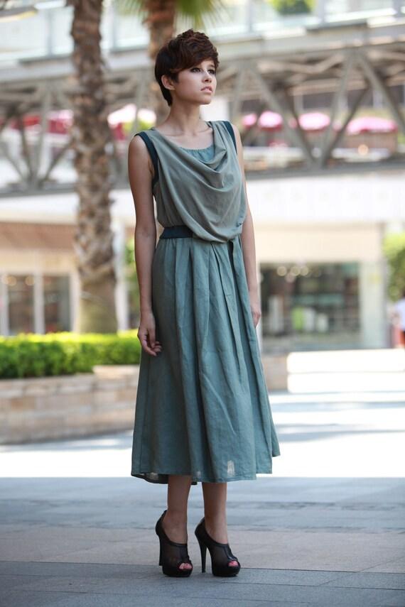 ON SALE 67% OFF Pea Green Pleat Sleeveless Linen Dress - NC091