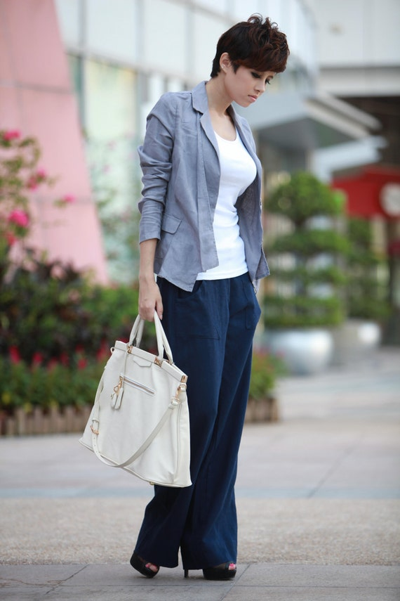 ON SALE  65% OFF New Design Gray Casual Women Linen Jacket - NC082