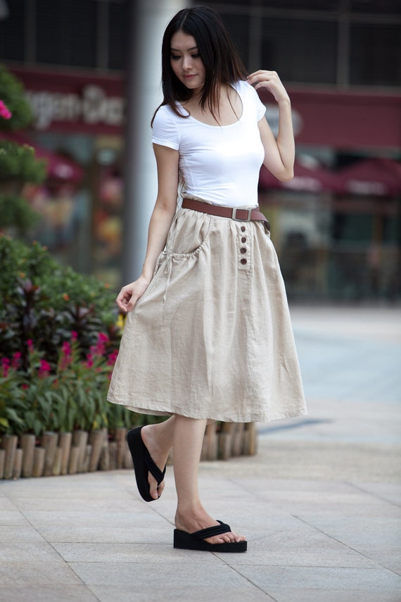 ON SALE 63% OFF Cream-colored Drawing Belt Pocket Casual Linen Skirt - NC110