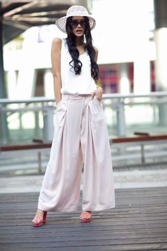ON SALE 63% OFF Hot Pink High Waist Wide Leg Chiffon Pants Skirt- NC141
