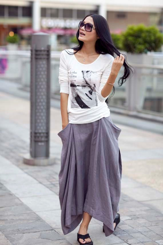 Lagenlook Hot Maxi Skirt Unique Long Skirt in Gray - NC144