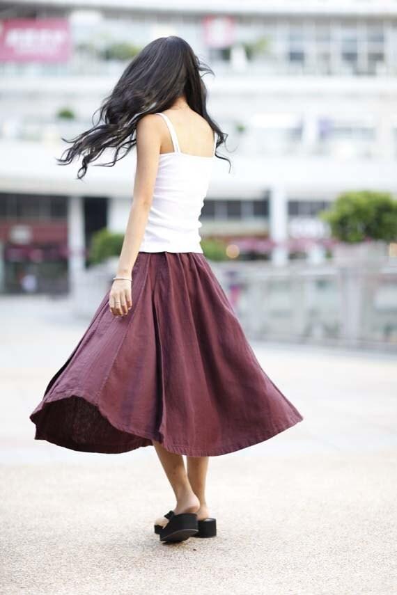 Comfortable Wine Red Elastic Waist Skirt For Autumn - NC168
