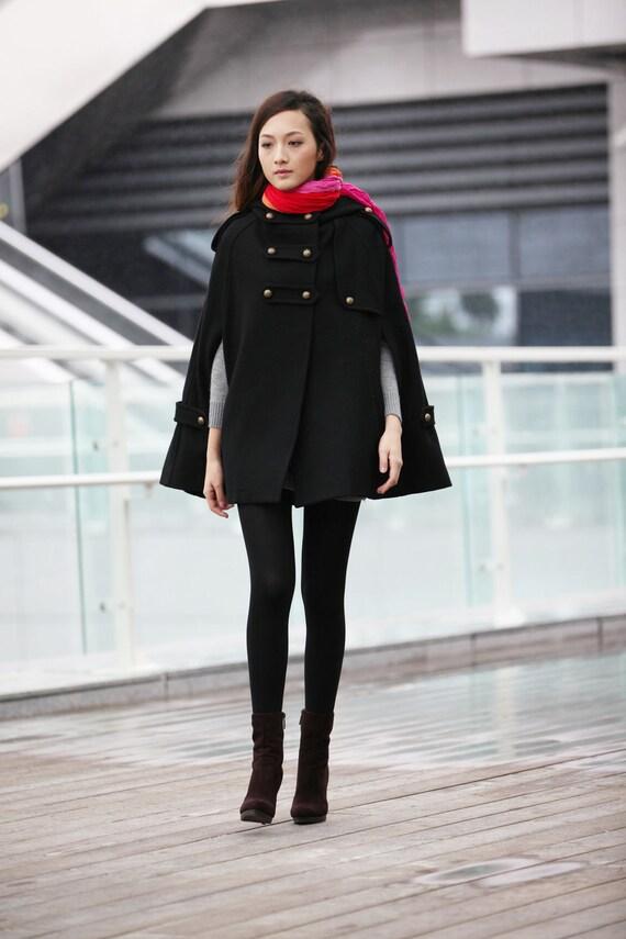 Black Double Breasted Hooded Cape Coat Women Military Wool Winter jacket Hoodie Cloak for Women - NC227