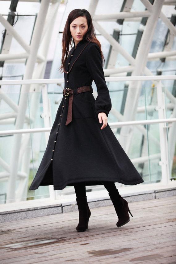 Winter Coat Black Coat Long Wool Coat  Winter Jacket Long Sleeve Coat / Fast Shipping- NC202