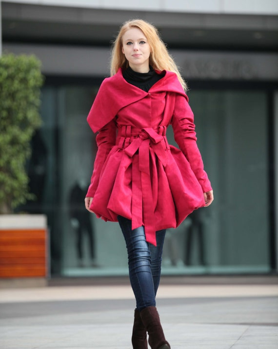 Rose Red Hooded Jacket Fluffy Artificial Suede Leather Hoodie Spring Trench Coat Autumn Coat long sleeves custom Women Tunic - NC266