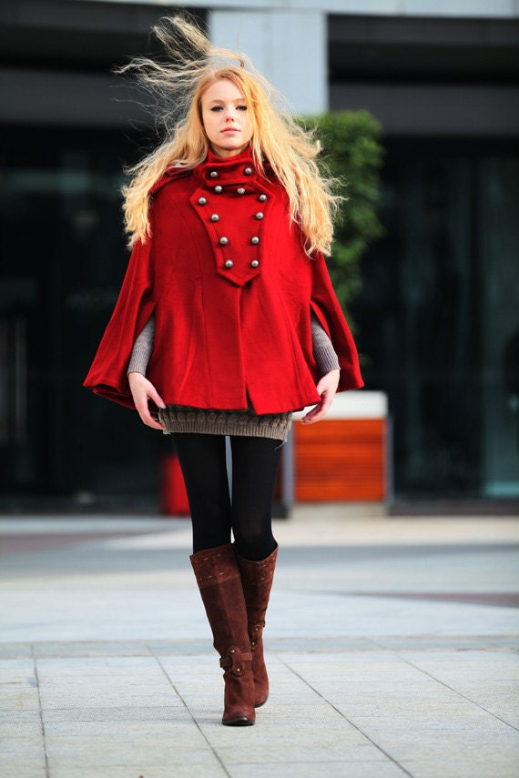 ON SALE 72% OFF Red Cashmere Cape Coat Double Breasted Army Style Wool Cloak Winter Coat For Women - NC242