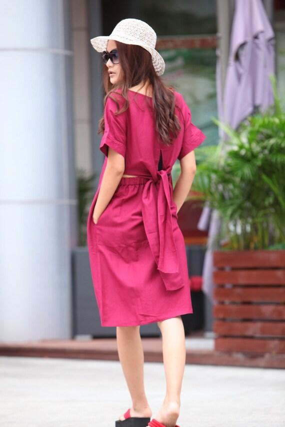 ON SALE 71% OFF Graceful Wine Red Bare Waist Flying Belt Long Dress - NC308