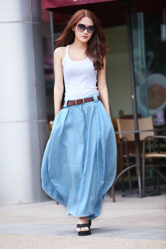 Romantic Linen Bud Long Maxi Skirt in Light Blue - NC023