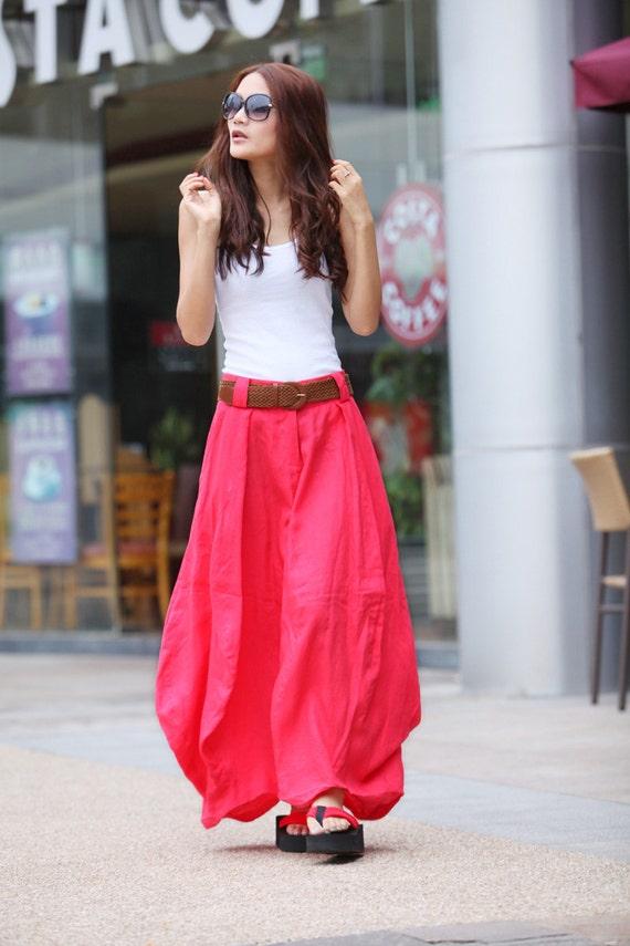 Romantic Watermelon Red Pretty Linen Bud Long Maxi Skirt - NC023